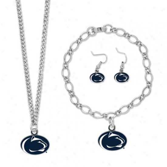Penn National Nittany Lions Ladies Silver-tone Jewelry Gift Set