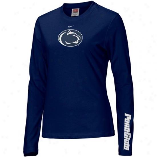 Penn State University Apparel: Nike Penn State University Navy Blue Ladies Classic Logo Long Sleeve T-shirt