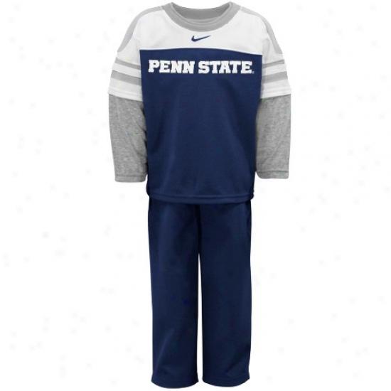 Penn State University Sweat Shirts : Nike Penn State University Toddler Navy Azure Mock Double Layer T-shirt & Pants Set