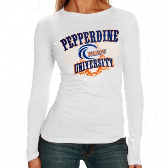 Pepperdine Waves Shirt : Pepperdine Waves Ladies White Sunburst Long Sleeve Shirt