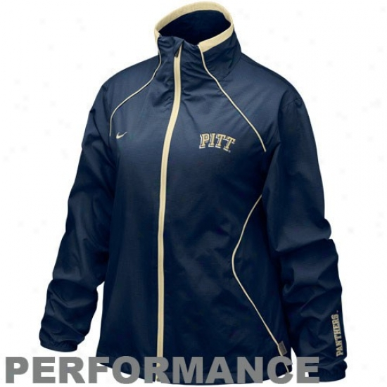 Pitt Panthers Jackets : Nike Pittsburgh Panthers Ladies Nav Blue Run Blitz Full Zip Performance Jackets