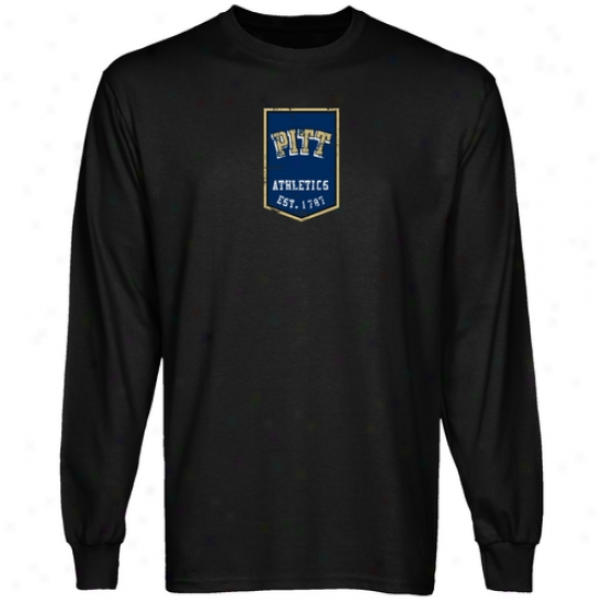 Pitt Panthers Tshirts : Pitt Panthers Black Banner Long Sleeve Tshirts