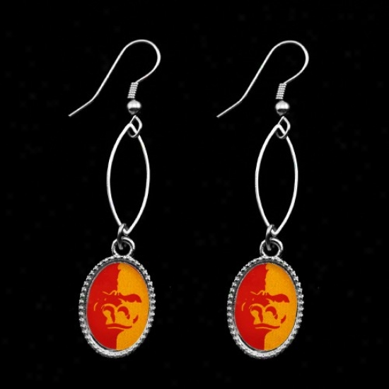 Pittsburg State Gorillas Red-gold Oval Drop Earrings