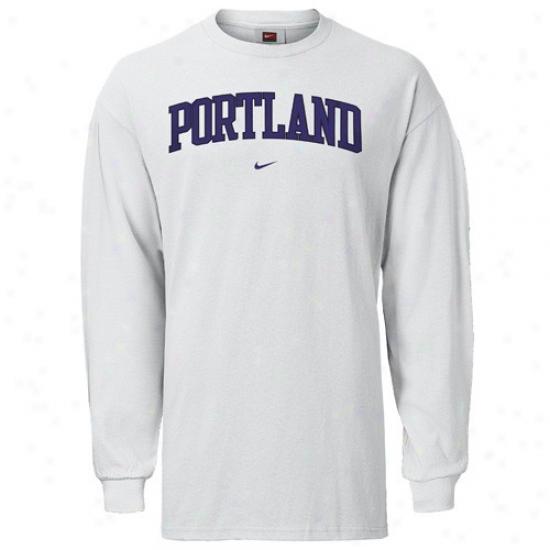 Portland Pilots Tee : Nike Portland Pilots White Classic College Long Sleeve Tee