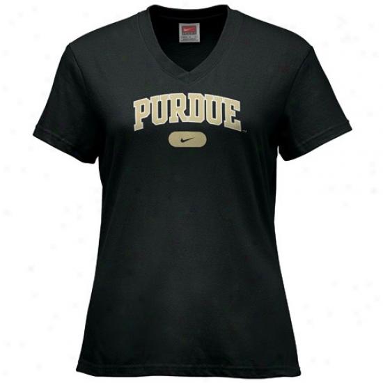 Purdue Boilermaker Shirt : Nike Purdue Booilermaker Black Ladies Classic Arch Shirt
