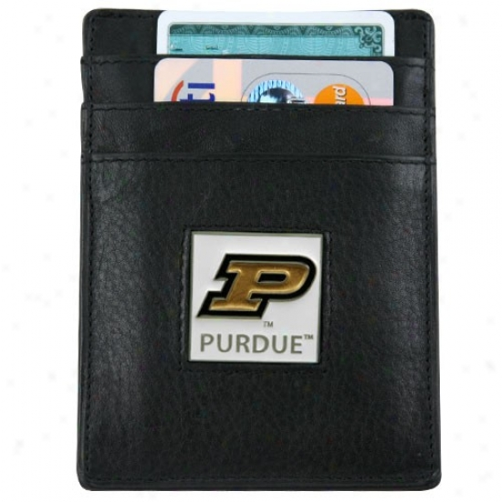 Purdue Boilermakers Black Leather Card Holder & Coin  Clip