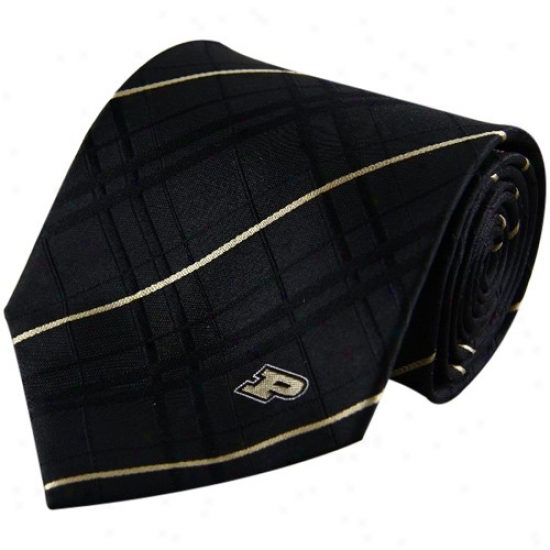 Purdue Boilermakers Black Oxford Woven Tie