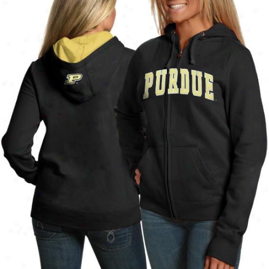 Purdue Boilermakers Fleece : Purdue Boileermakers Ladies Black Game Day Full Zip Fleece