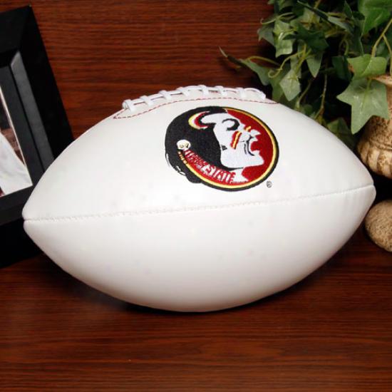 Rawlings Florida State Seminolea (fsu) White Signatuure Succession Fulo-size Football