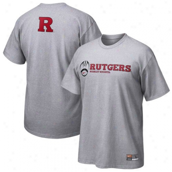 Rutgers Sca5let Knights Tshirt : Nike Rutgers Scarlet Knights Ash Practice Tshirt