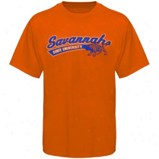 Savannah State Tigeers Tees : Savannah State Tigers Orange Logo Script Tees