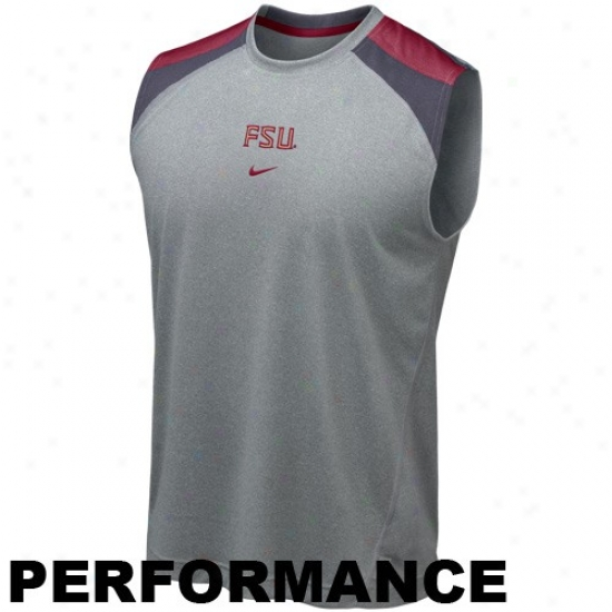 Seminole Tees : Nike Seminole (fsu) Ash Drl-fit Speed Fury Performance Sleeveless Tees