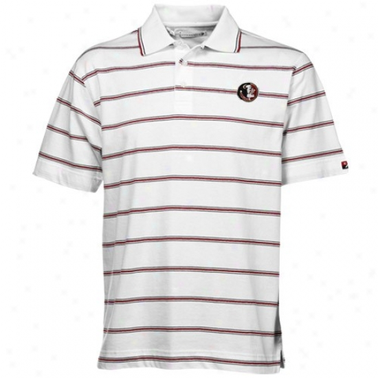 Seminoles Clothing: Cutter & Buck Seminoles (fsu) White Griffin Bay Striped Polo