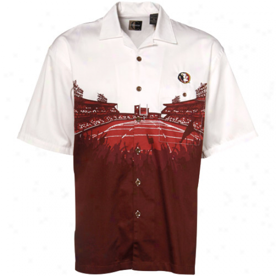 Seminoles Tshirts : Seminoles (fsu) Garnet-white Stadium Resort Full-bufton Camp Tshirts