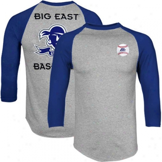 Seton Hall Pirates Tshirts : Seton Hall Pirates Ash-royal Blue Big East Baseball Raglan Three Quarter Length Sleeve Tshirts