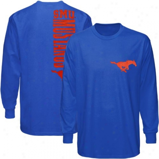 Smu Mustangs Tshirt : Smu Mustangs Royal Blue Indirect Long Sleeve Tri-blend Tshirt