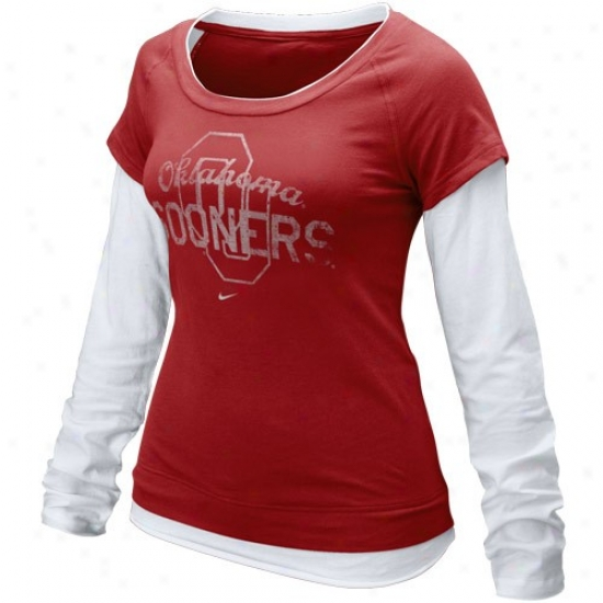 Sooners Clothes: Nike Sooners Ladies Crimson-white Graphic Double Stratum Long Sleeve T-shirt