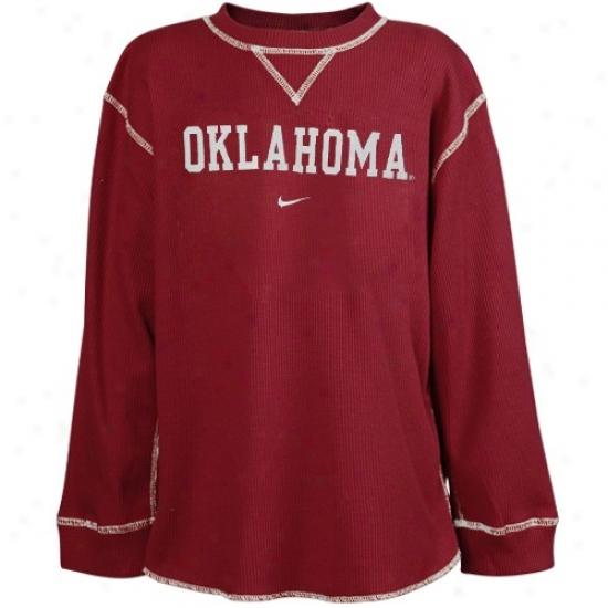 Sooners T Sbirt : Nike Sooners Youth Crimson Waffle Long Sleeeve T Shirt