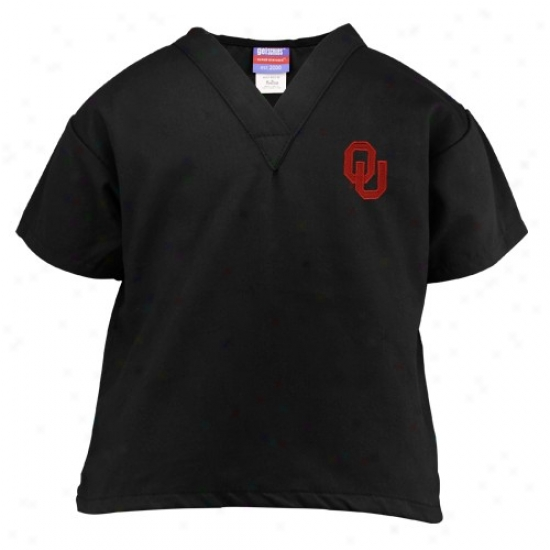 Sooners Tshirts : Sooners Youth Black Wordmark Scrub Top
