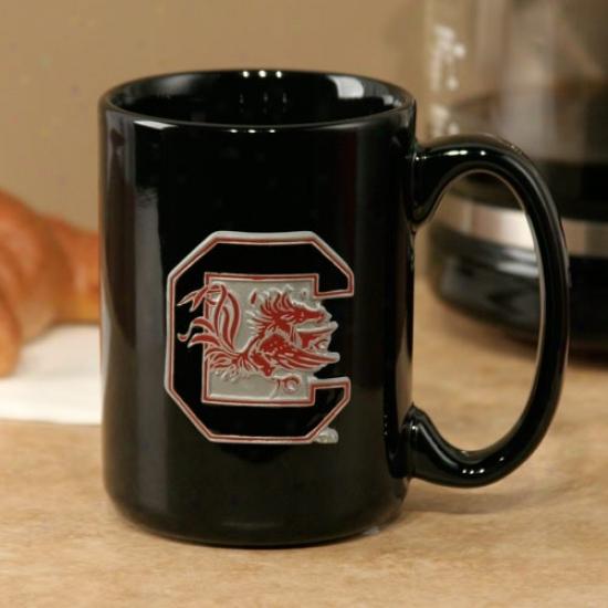 South Carolina Gamecocks Black 15oz. Pewter Logo Ceramic Mug