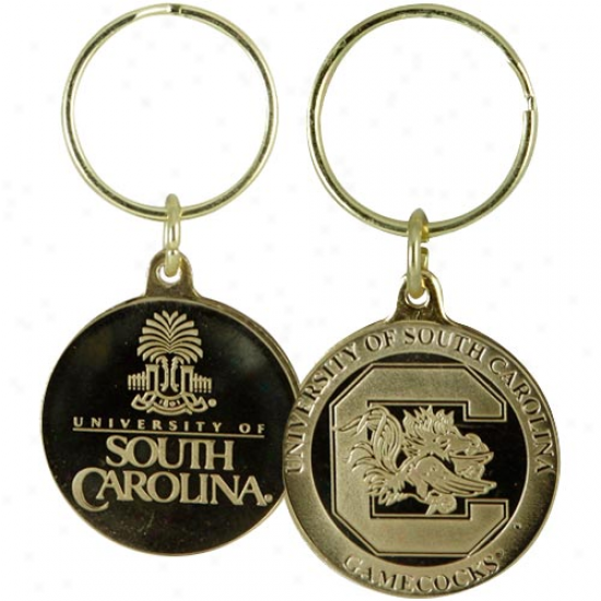 South Carolina Gamecocks Bronze Coin Keychain