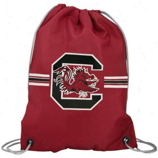 South Carolina Gamecocks Garnet Team Logo Drawstriny Backpack