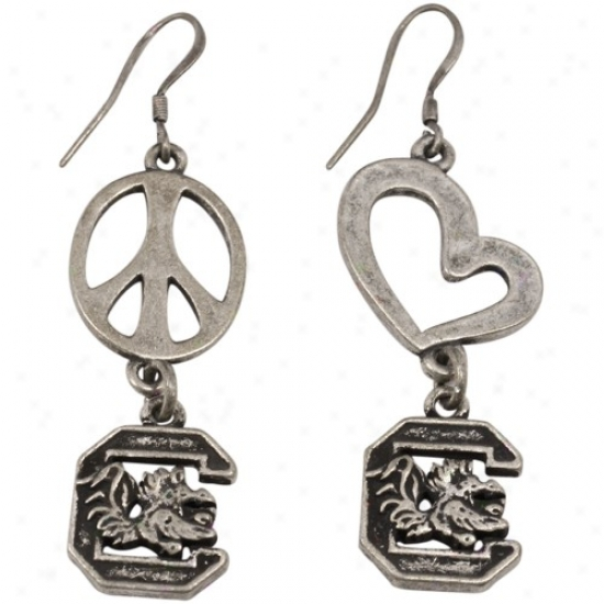 So8th Carolina Gamecocks Pewter Peace, Love Earrings