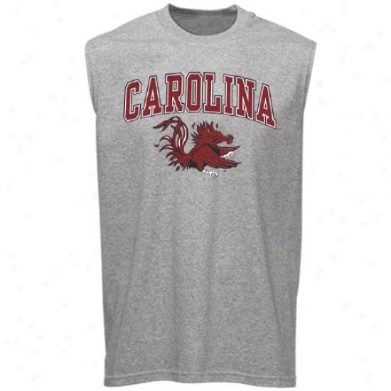 South Carolina Gamecocks Tee : Southern Carolina Gamecocks Ash Big Arch N' Logo Sleeveless Tee