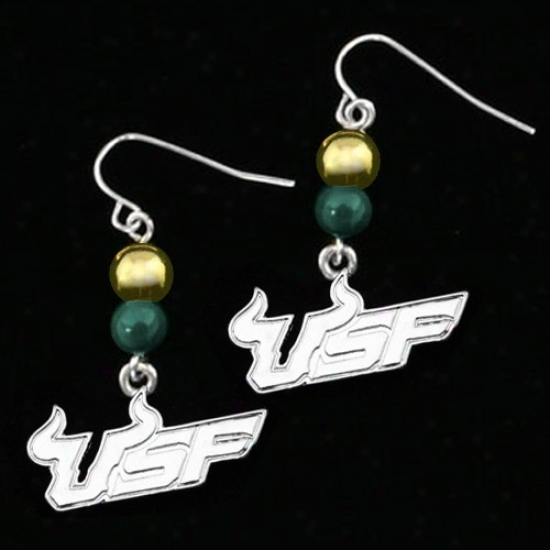 South Florida Bulls Beaded Team Logo Earrings 31061002500