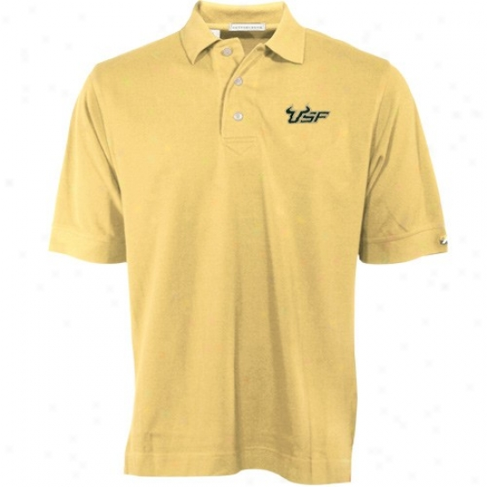 South Florida Bulls Golf Shirt : Cutter & Buck South Florida Bulls Gold Tournament Golf Shirt