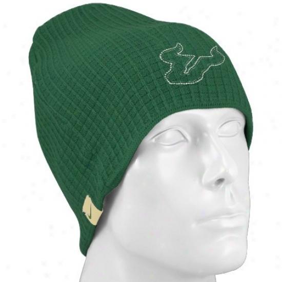 South Florida Bulls Hat : Nike Southern Florida Bulls Green Third And Long Knit Beanie