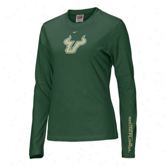 South Florida Bulls Shirt : Nike South Florida Bulls Green Ladies Classic Logo Long Sleeve Shirt