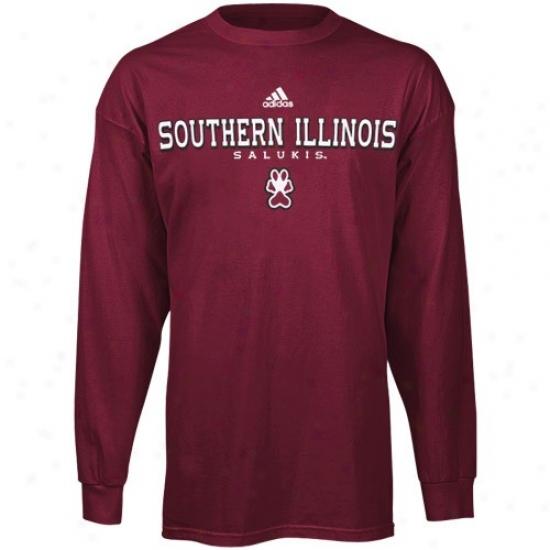 Southern Illinois Salukis T-sjirt : Adidas Southern Iplinois Salukis Maroon True Basic Long Sleeve T-shirt