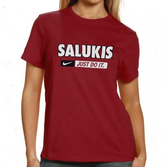 Southern Illinois Salukis T-shirt : Nike Southern Illinoi sSalukis Lqdies Maroon Just Do It T-shirt