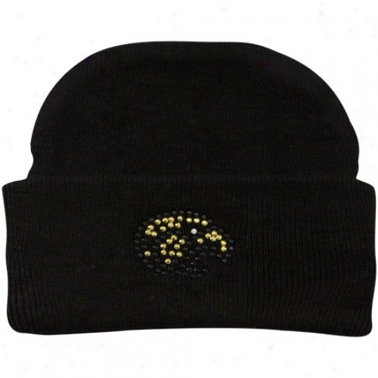Southern Miss Golfen Eagles Hats : Soithern Miss Golden Eagles Infant Girls Black Rhinestone Knit Beanie