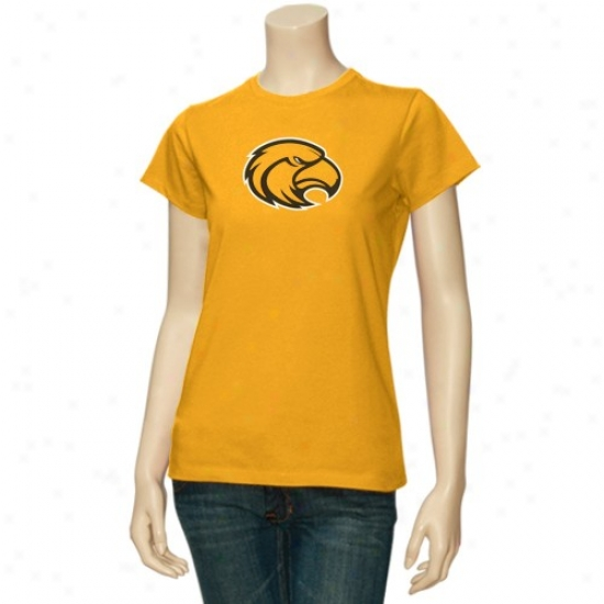 """southern Miss Golden Eagles T-shirt : Southern Miss Golden Eagles Ladies Gold 5"""" Logo T-shirt"""