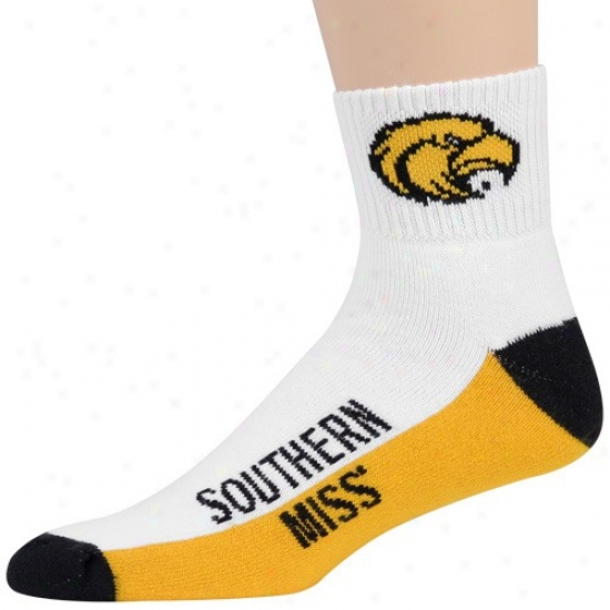 Southern Miss Golden Eagles Tri-color Team Logo Quarter Length Socks