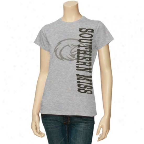 Southern Miss Golden Eagles Tshirt : Souhtern Blunder Golden Eagles Ladies Ash Shadow Logo Tshirt