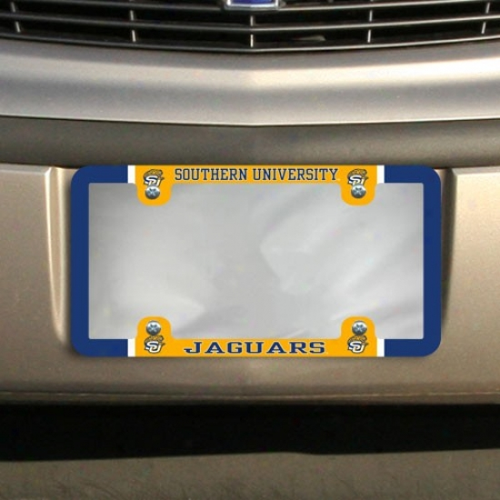 Southern University Jaguars Thin Rim Varsity License Plate Frame