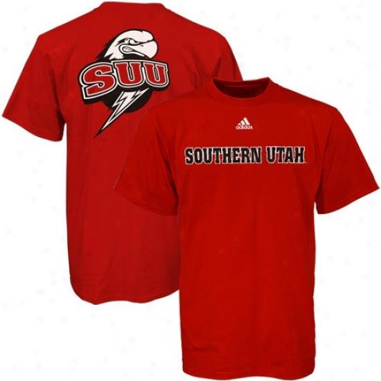 Southern Utah Thunderbirds Tee : Adidas Southern Utah Thunderbirds Red Prime Time Tee