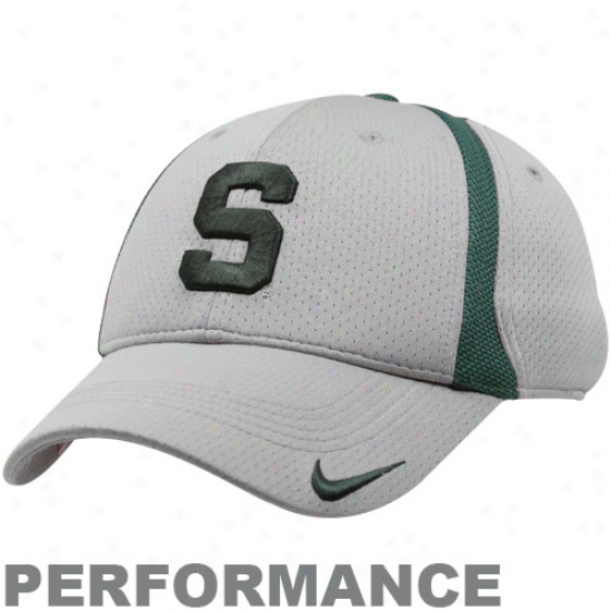 Spartan Hats : Nike Spartan Gray Legacy91 Conference Performance Swoosh Flex Fit Hats