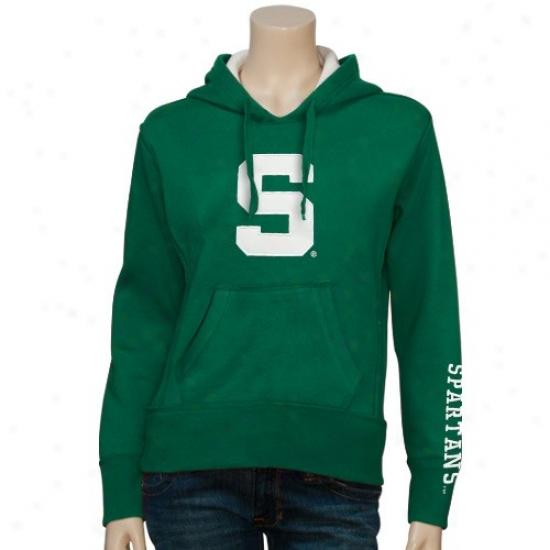 Spartan Stuff: Brave Ladies Green Classic Twill Pullover Hoody Sweatshirt