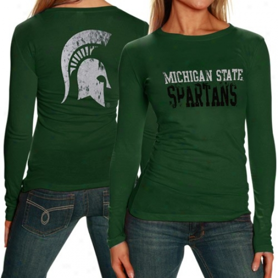 Spartan T Shirt : My U Spartan Ladies Green Literality Long Sleeve T Shirt