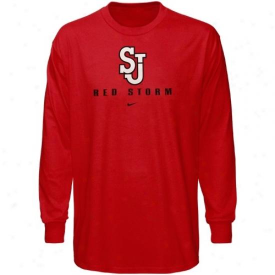 St. Johns Red Strpm Apparel: Nike St. John's Red Storm Red Basic Logo Long Sleeve T-shirt