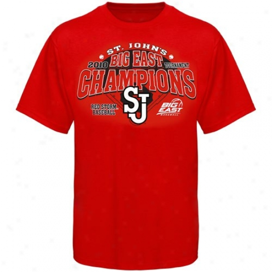 St. Johns Red Storm Tees : St. John's Red Storm Red 2010 Big East Baseball Tournament Champions Tees