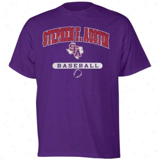 Stephen F Austin Lumberjacks Tshirt : Russlel Stephen F. Austin Lumberjacks Purple Baseball Tshirt