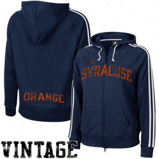 Syracuse Orange Hoodie : Adidas Syracuse Orange Ladies Navy Bluee College Town Full Zip Vintage Hoodie