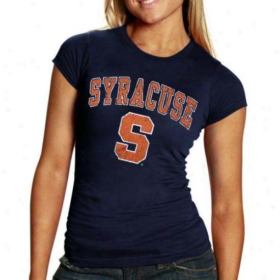 Syracuse Orange Shirts : Syracuse Orange Ladies Navy Blue Big Arch N' Logo Shirts