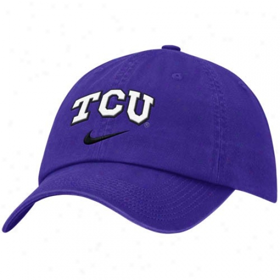 Tcu Horned Frog Hat : Nike Texas Christiab Horned Frogs Purple Cakpus Adjustable Hat