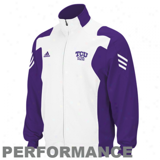 Tcu Horned Frogs Jackets : Adidas Texas Christian Horned Frogs White-purple Scorch Filled Zip Performance Warm-up Jackets